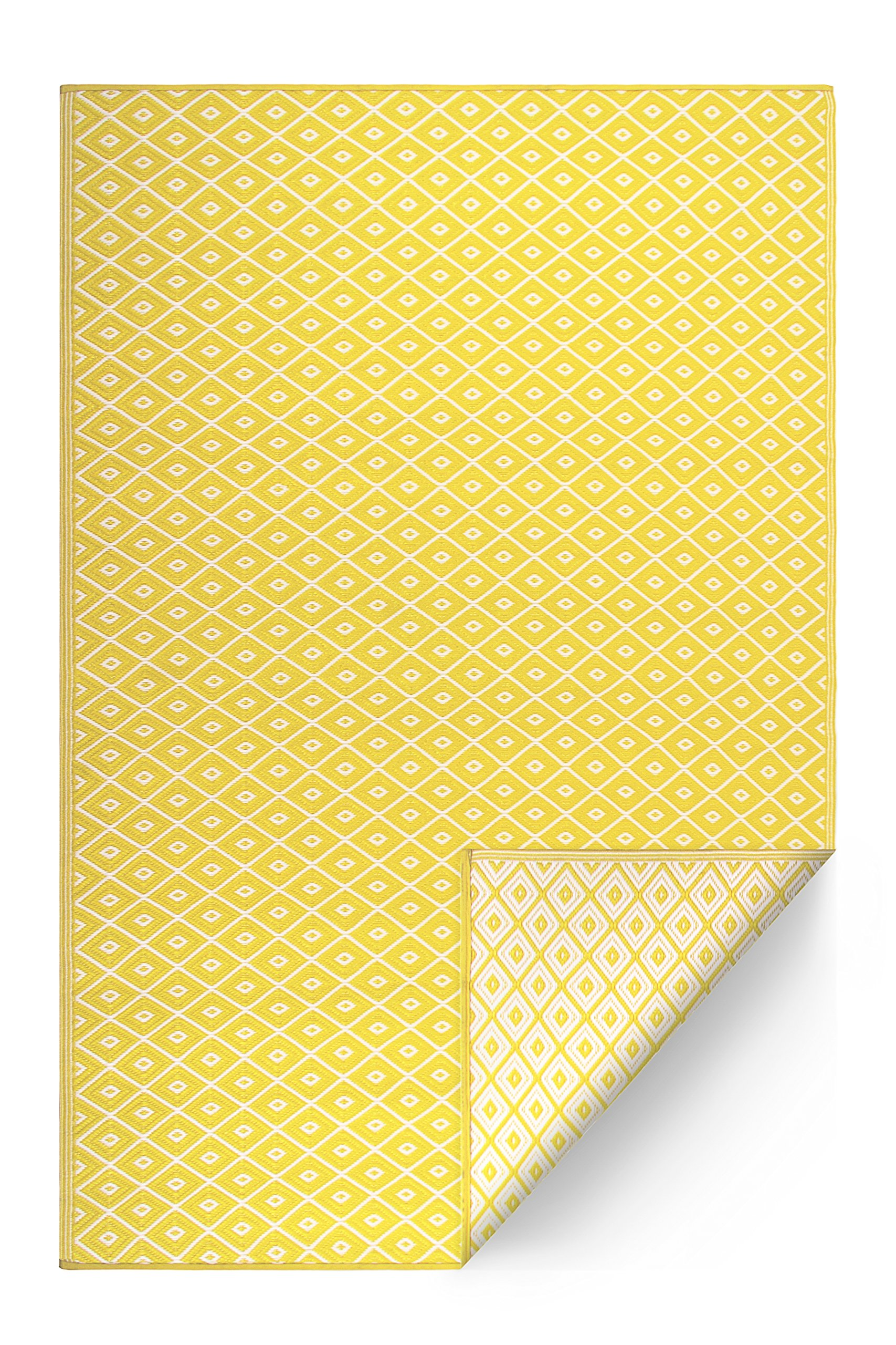 FH Home Indoor/Outdoor Recycled Plastic Floor Mat/Rug - Reversible - Weather & UV Resistant - GM16 - Yellow (5 ft x 8 ft) by FH Home (Image #2)