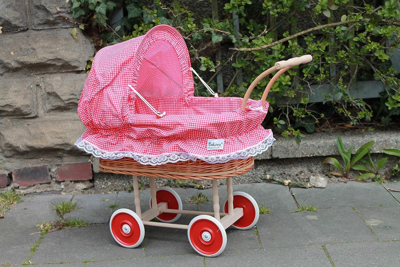 Puppenwagen mit Stoffeinsatz rot//natur 100/%made in Germany