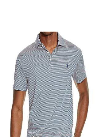3487a337 Ralph Lauren Polo Men's Striped Pima Soft Touch Polo Shirt Large at ...