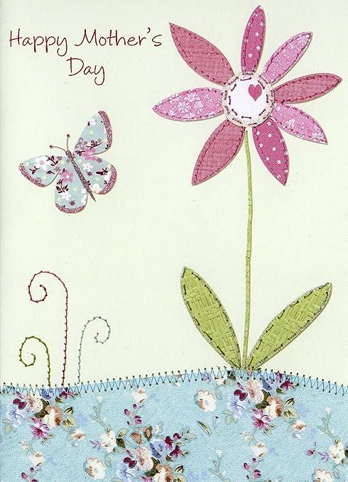 Día de la madre Tarjeta de purpurina - de mariposa y flor ...
