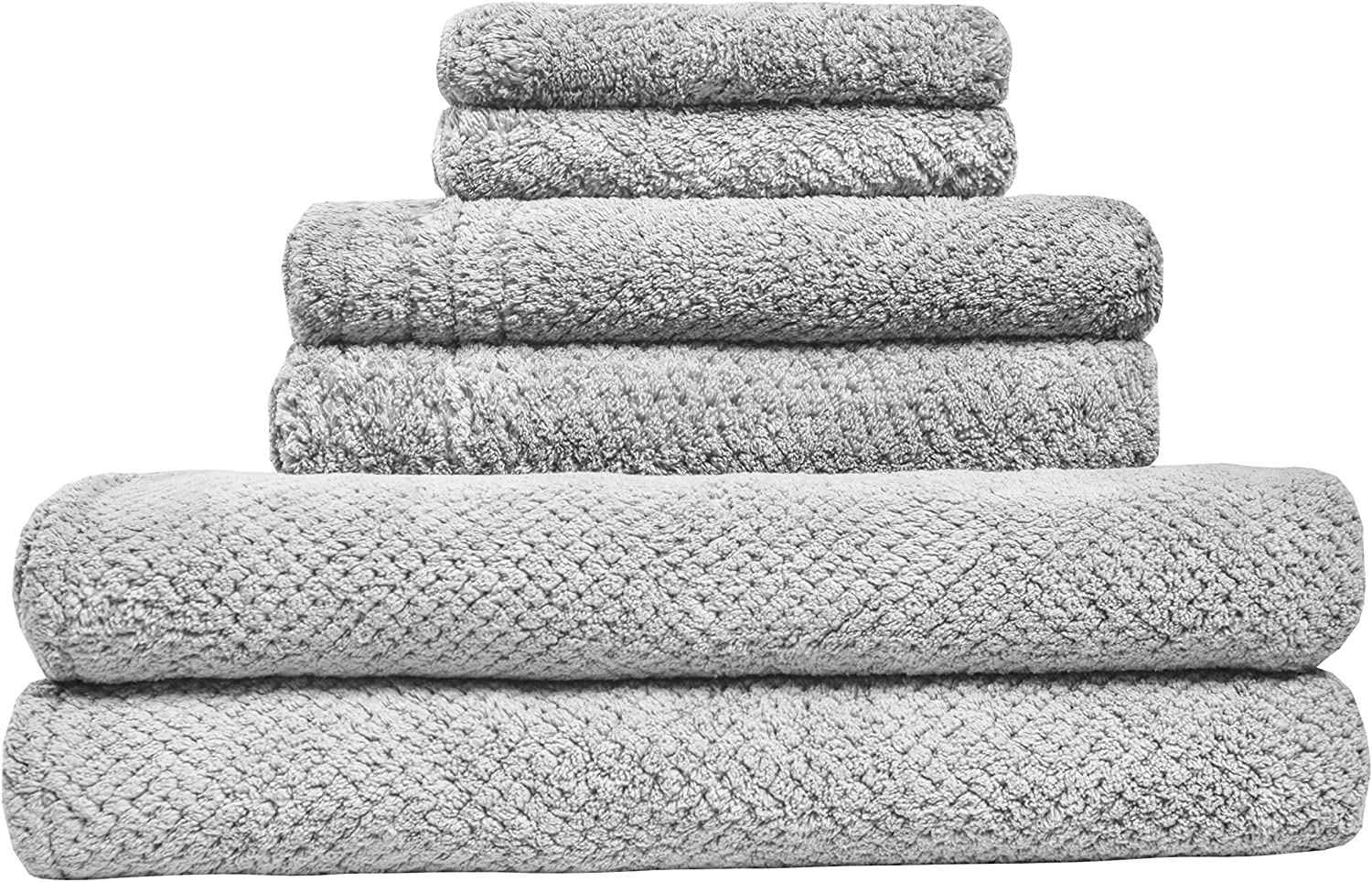 LUCKISS Super Soft Premium Family Microfiber Bath Towel Set Quick Dry Ultra Absorbent 2 Large Bath Towels for Bathroom and Beach, 2 Hand Towels, 2 Face Towels(6 Pack)