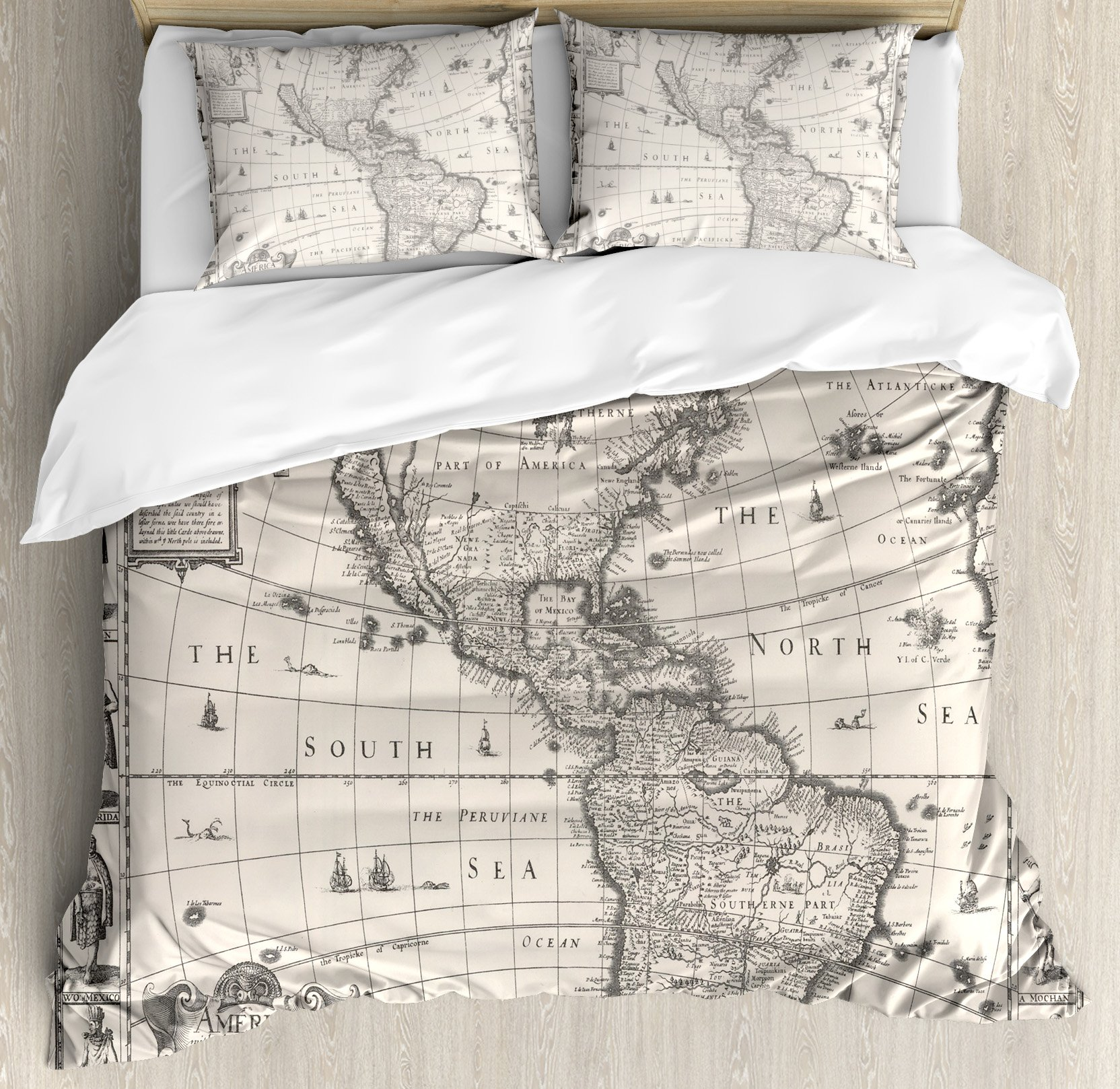 Wanderlust Decor Duvet Cover Set Queen Size by Ambesonne, Image of Antique Map America in 1600s World in Medieval Time Ancient Era, Decorative 3 Piece Bedding Set with 2 Pillow Shams, Multi