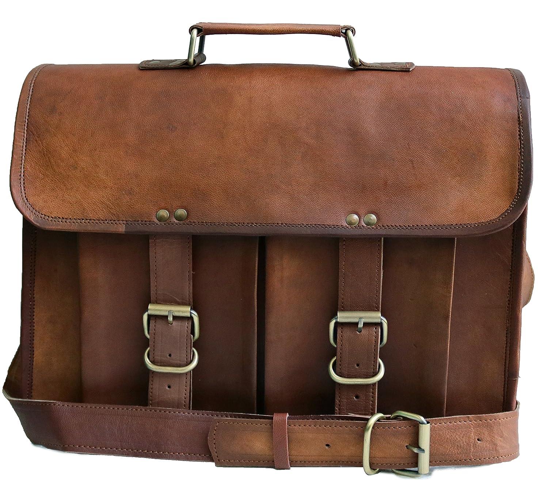 "14"" Inch Men's Genuine Leather Messenger College Macbook Air Pro Laptop Ipad Tablet Briefcase Satchel Bag"