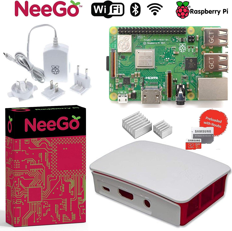 NEEGO Raspberry Pi 3 B+ (B Plus) Desktop Starter Kit 32Gb (Includes Original Accessories) White