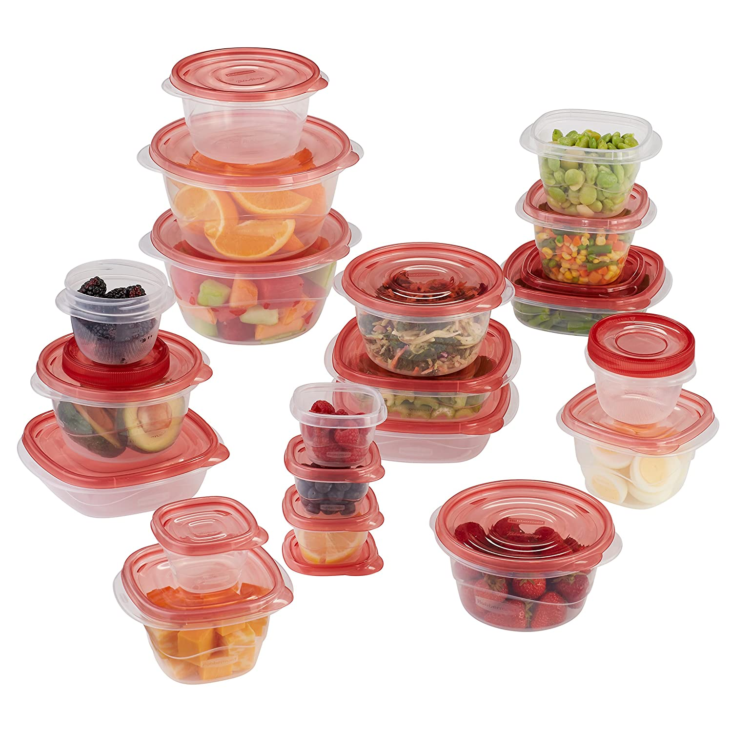 Rubbermaid TakeAlongs Assorted Food Storage Containers, Tint Chili, 40-Piece Set 1949248