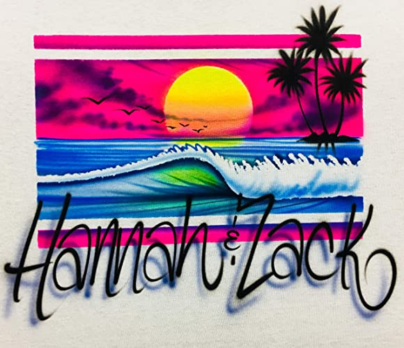 198b4a35 Image Unavailable. Image not available for. Color: Airbrush T Shirt, Beach  Scene ...