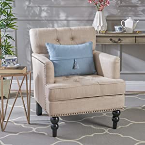 Great Deal Furniture Tufted Club Chair, Decorative Accent Chair with Studded Details - Beige