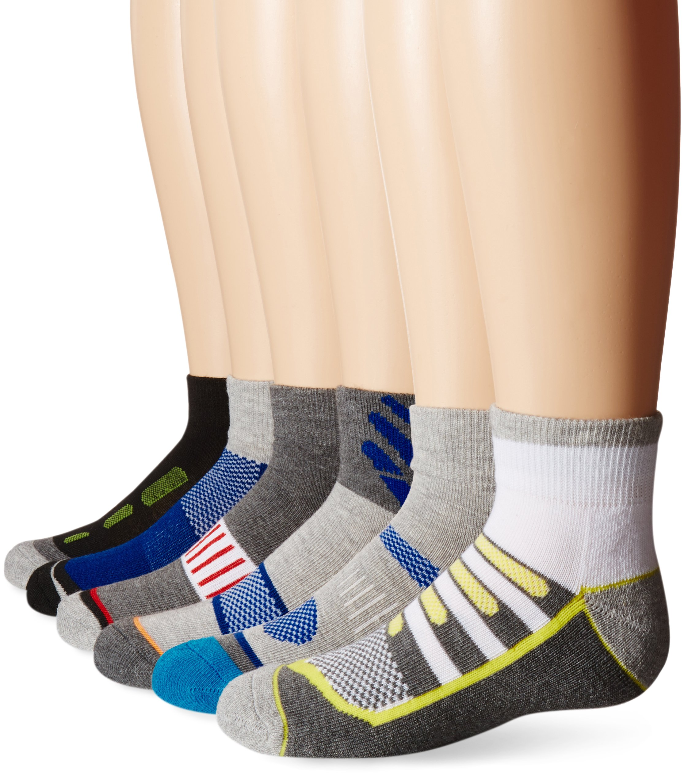 Jefferies Socks Big Boys Tech Sport Quarter Socks 6 Pair Pack, Multi, Medium