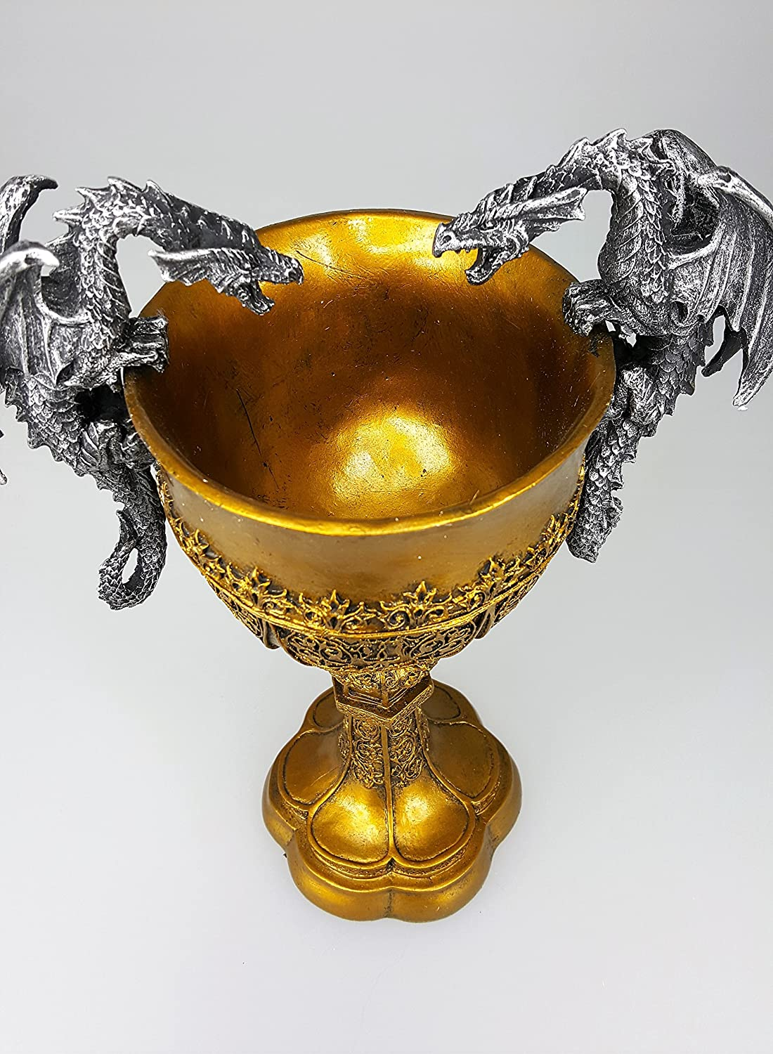 Pacific Giftware King Arthurs Fantasy Golden Chalice with Dual Dragon Wine Goblet Sculptural Decor