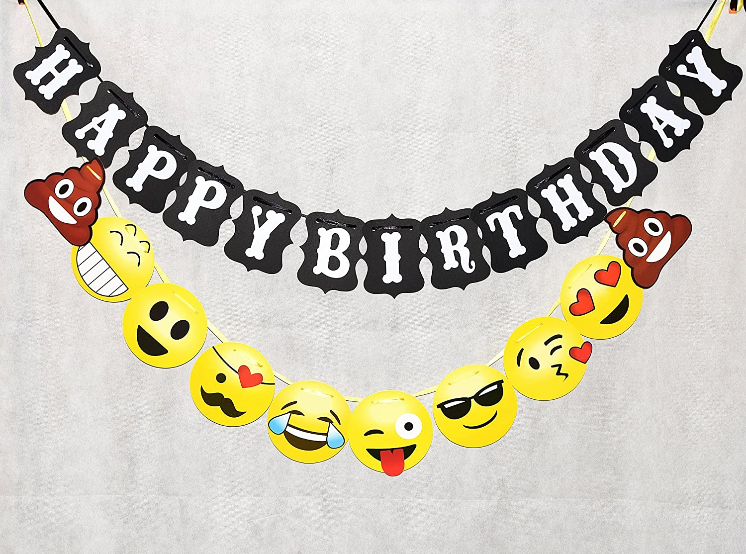 Amazon TAOTEC Happy Birthday Bunting Banner With Emoji For Party Decorations 103 Ft String Black Emojis Toys Games