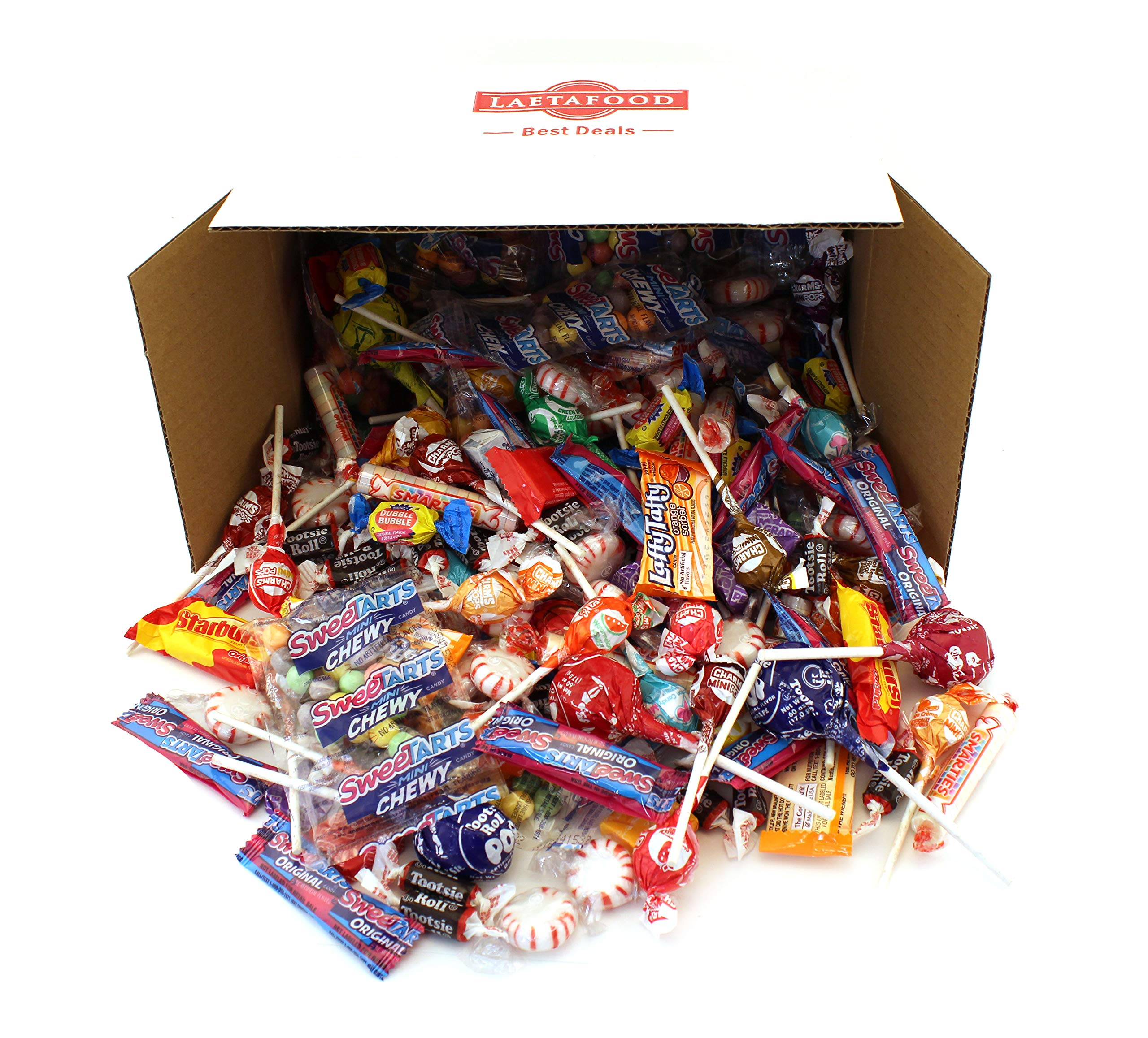 LaetaFood Box, Halloween Candy Assortment - Tootsie Pops, Jolly Ranchers Lollipops, Smarties Rolls, Wonka Laffy Taffy, Now Later, Starburst, SweeTarts, Dubble Bubble Bubble Yum (10 Lbs Bulk ) by LAETAFOOD