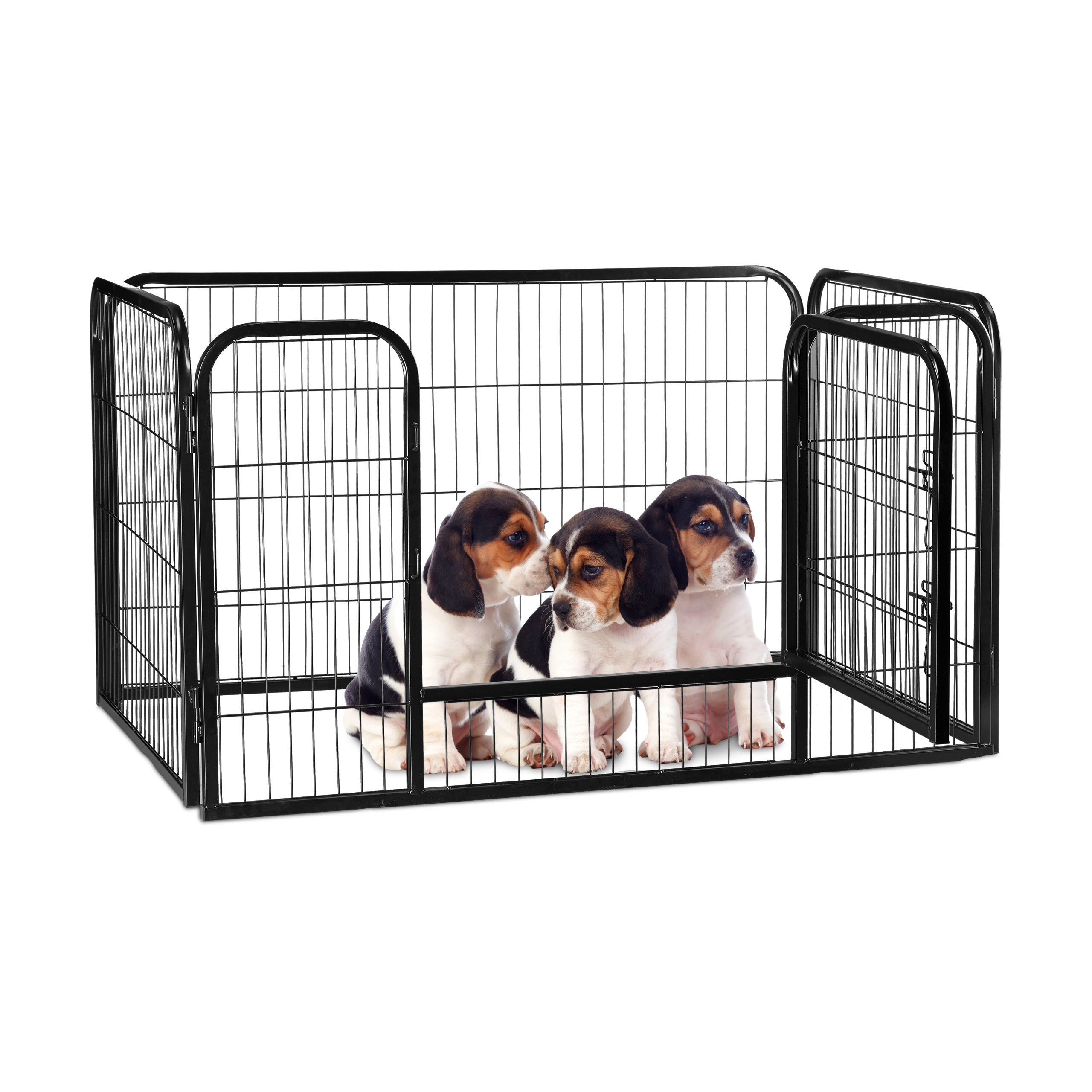 Relaxdays Whelping Pen for Puppies, Small Dogs and Rabbits, in- and Outdoors, Playpen, HWD 70 x 125 x 80 cm, Black by Relaxdays (Image #1)