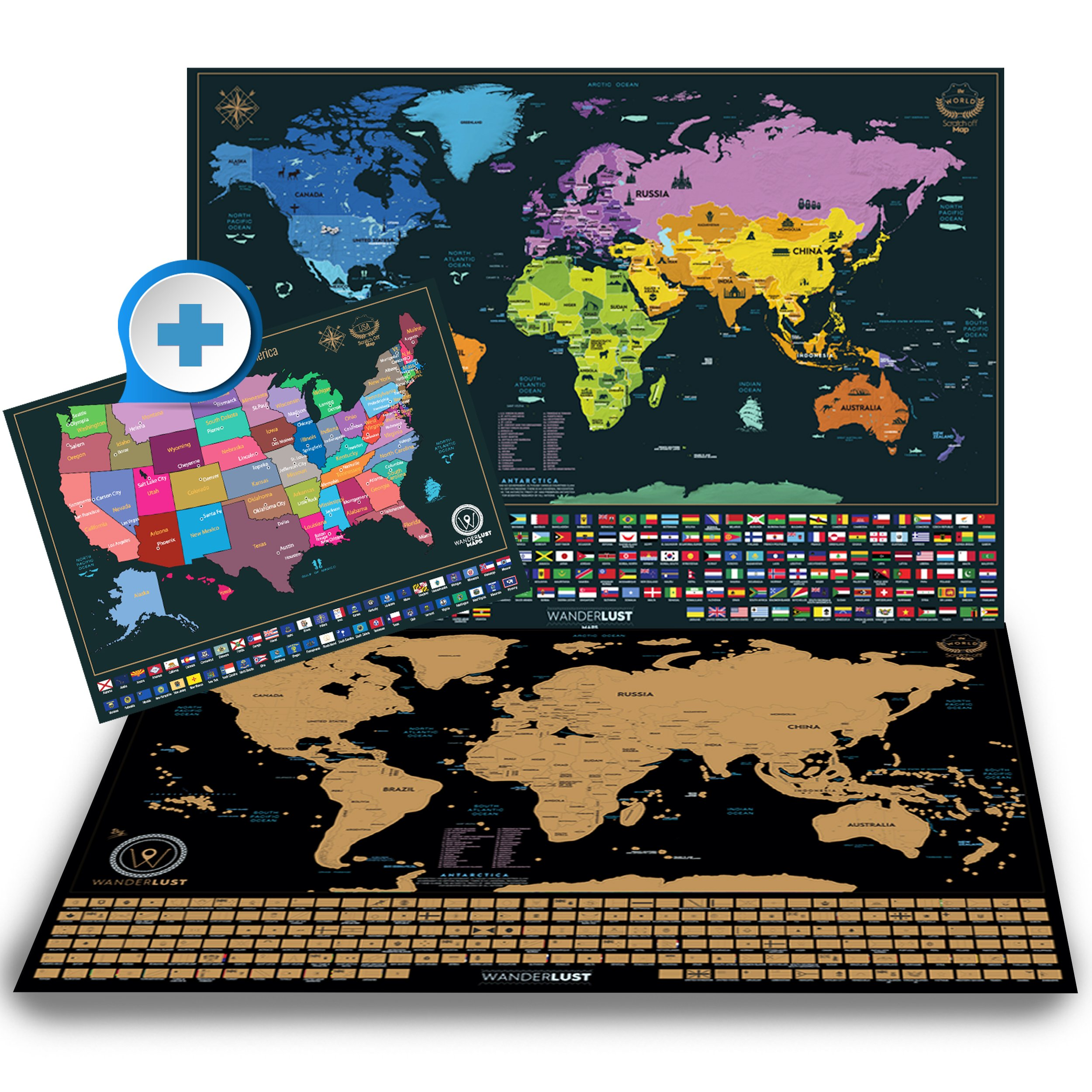 Scratch Off World Map + Premium Scratch Off USA Map - Deluxe Tube Can Be Gift Messaged and Includes Precision Scratch Tool and Travel Memory Stickers, by Wanderlust Maps