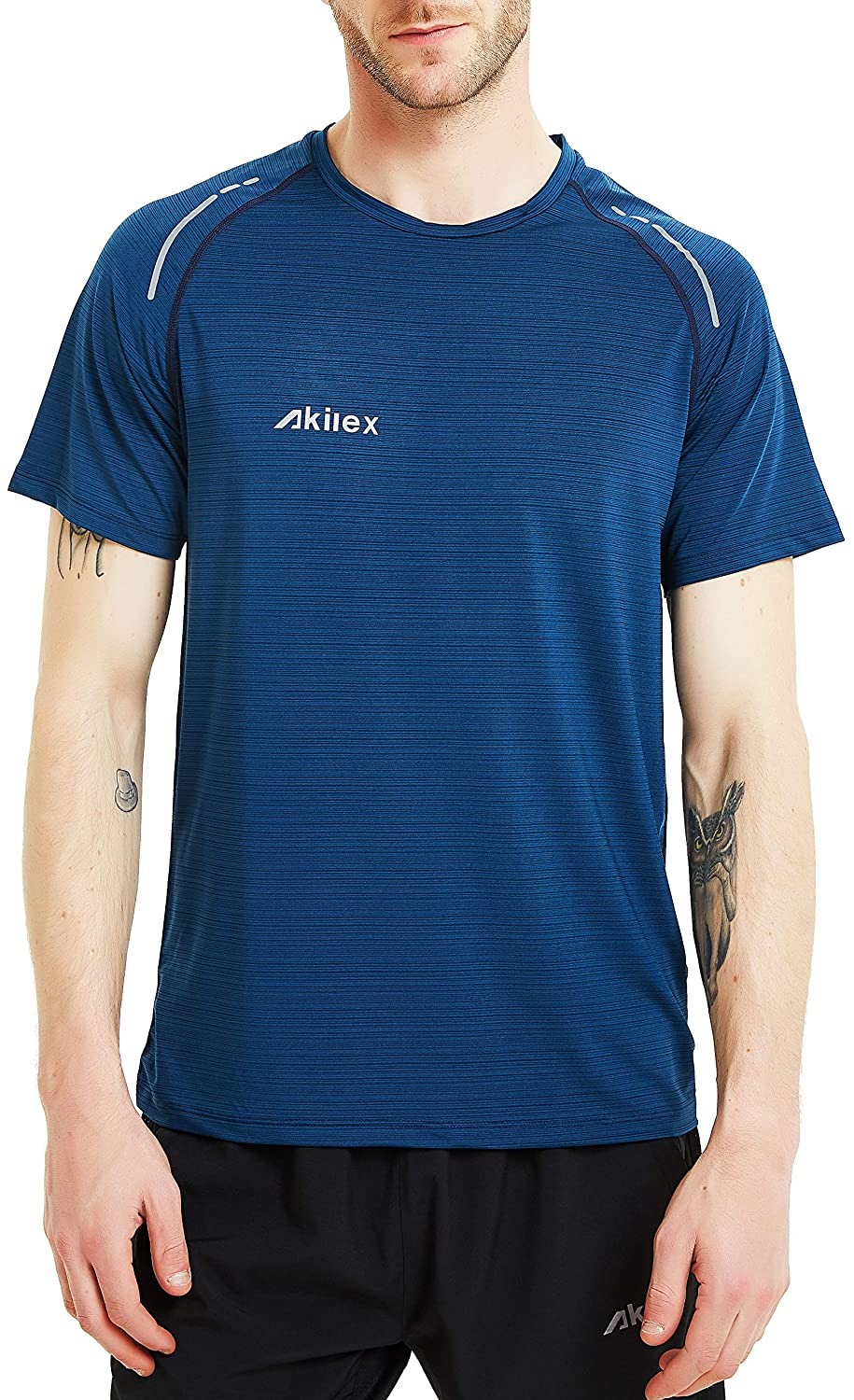 b6575e0bc Akilex Men's Running Dry Fit T-Shirt Athletic Outdoor Short Sleeve  Comfortable Top (XXL, Dark Cerulean): Amazon.com.au: Fashion