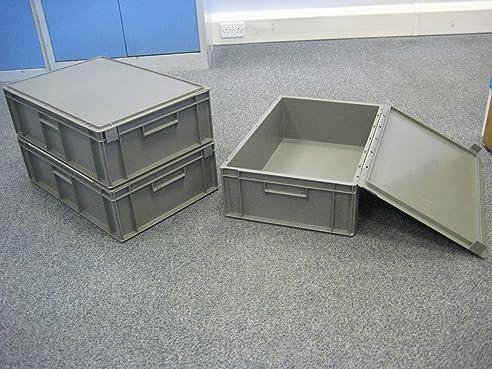 5 Neue Grau Kunststoff Aufbewahrung Kisten Box Container 15L