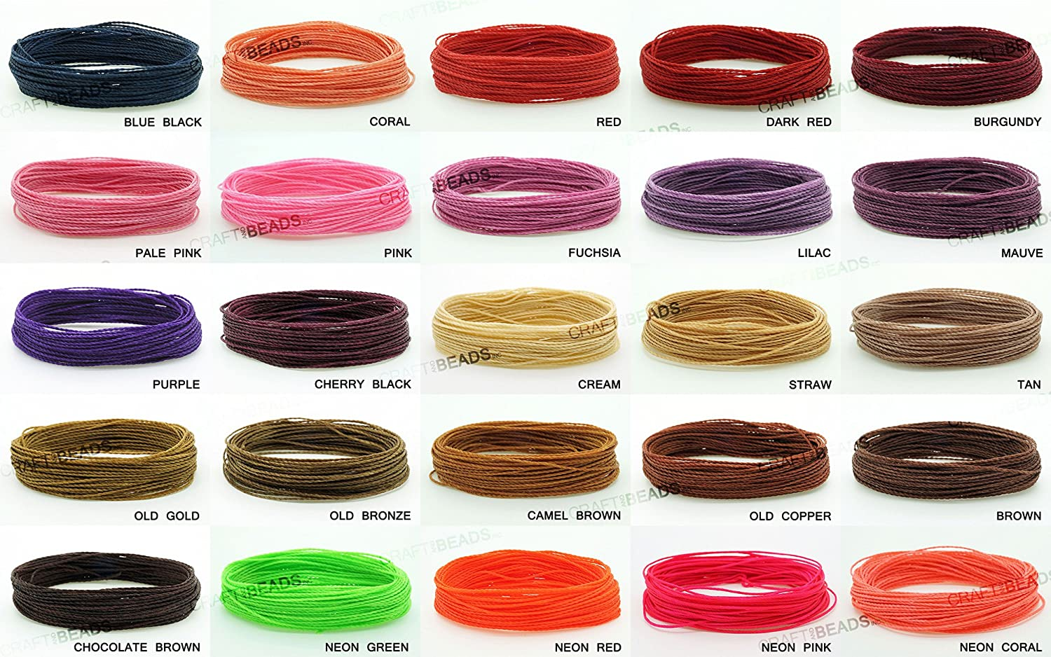 Assorted Pack of 10 1mm Waxed Polyester Twisted Linhasita Cord Macrame Bracelet Thread Artisan String