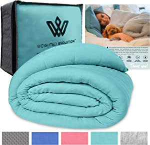"""Weighted Evolution Weighted Blanket+Bonus Organic Bamboo Duvet Cover Best Blanket for Adults/Kids-Hypoallergenic Warm Cooling Calm Cozy Heavy Blanket (Turquoise, 60""""x 80""""