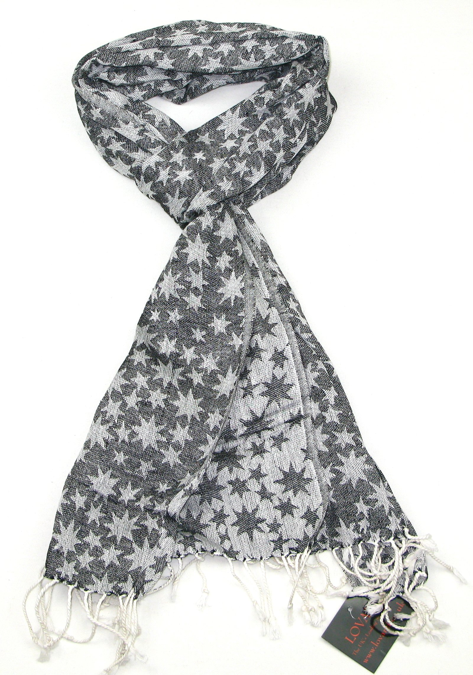 Lovarzi Black and White Star Scarf - Cotton scarves for winter and summer