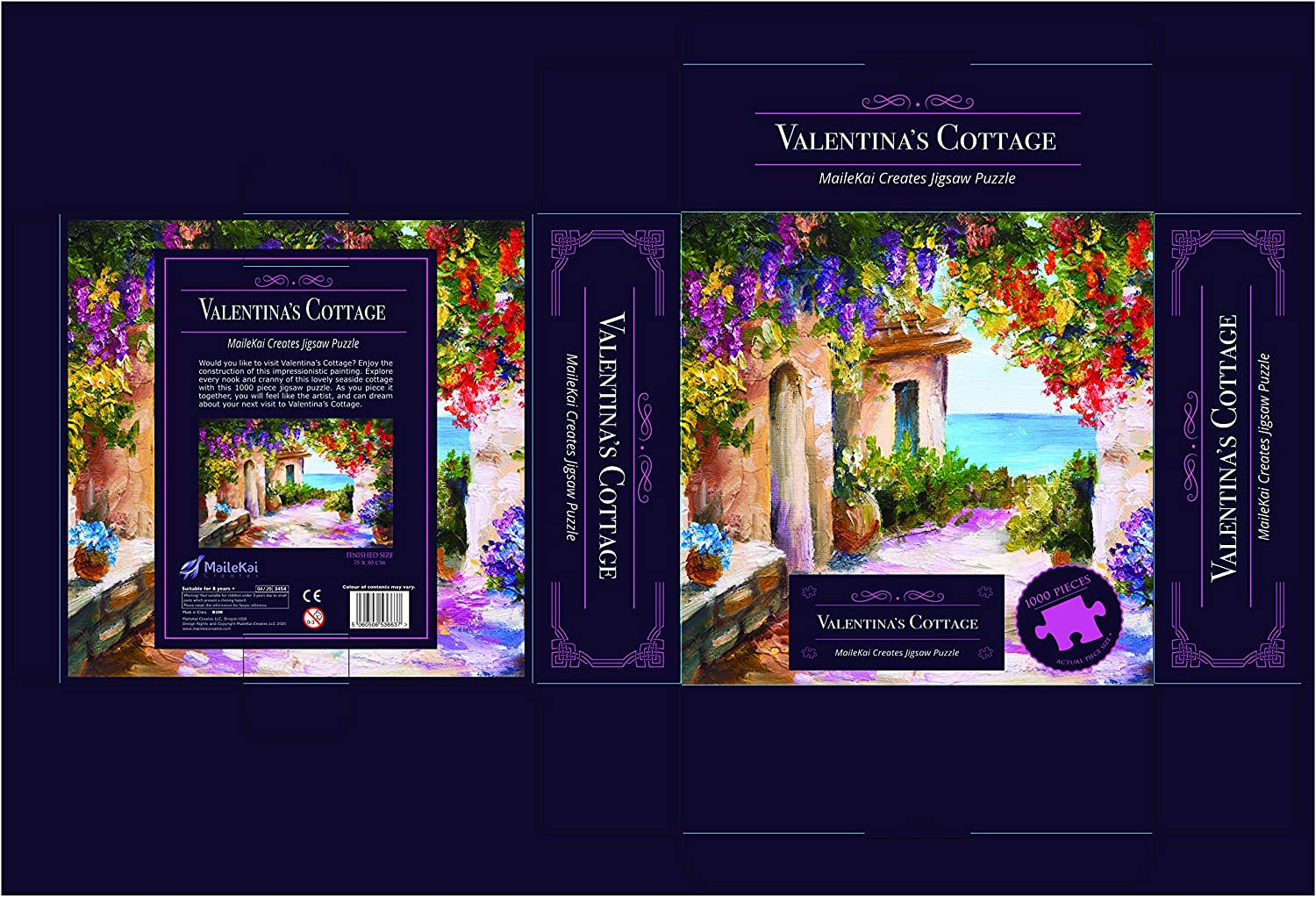 MaileKai Creates Valentina/'s Cottage 1000 Piece Jigsaw Puzzle for Kids Adults 20x30 inch Finished Size