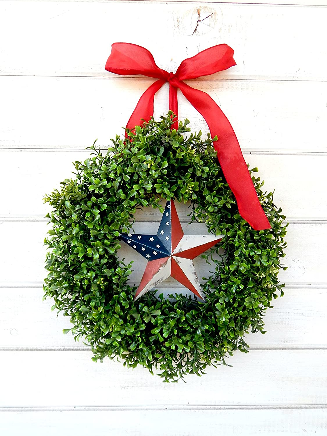 Boxwood Wreath Military Wreath Military Christmas Gift 4th of July Decor Summer Home Decor Summer Wreath Patriotic Gift Patriotic Wreath USA Decor July 4th Wreath