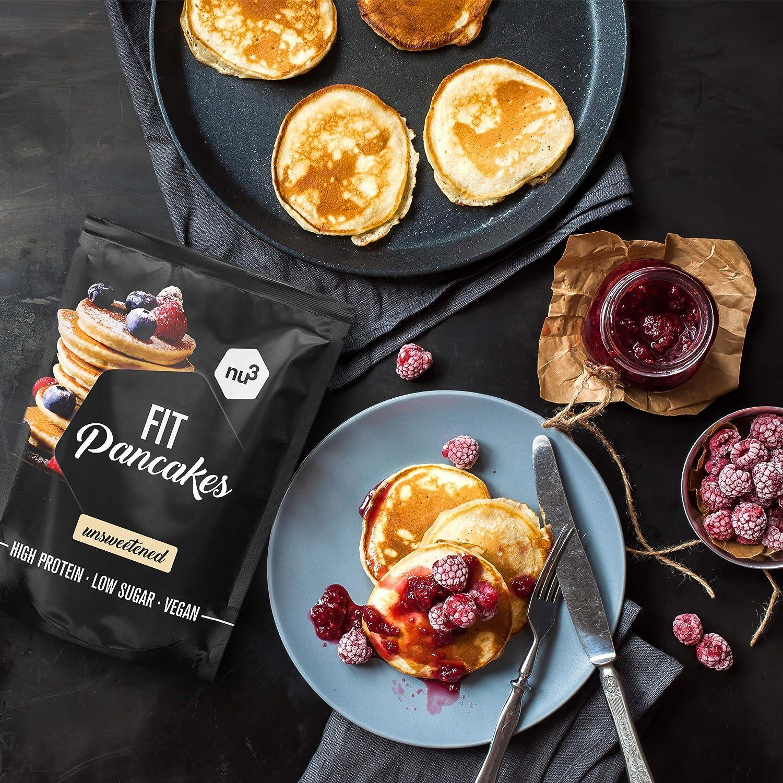 Tortitas proteicas low carb - Fit Pancakes 240 g – Ricas en proteínas (28%) y bajas en grasa (7,3%) – Mezcla para hornear – Pancakes sin gluten a base ...