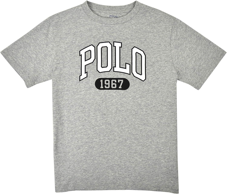 Polo Ralph Lauren Boys Grey Heather All Over Graphic Print Short Sleeve T-Shirt
