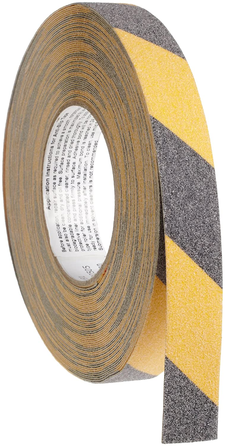 Brady 60' Length, 1' Width, B-916 Grit-Coated Polyester Tape, Striped Special Black and Yellow Color Anti-Skid Tape 1 Width 78146