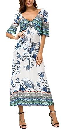 4de509e30f5 KorMei Damen Sommerkleid Kurzarm Boho A-Line Lang Kleid Maxikleid Party  Strandkleid Weiß XL  Amazon.de  Bekleidung
