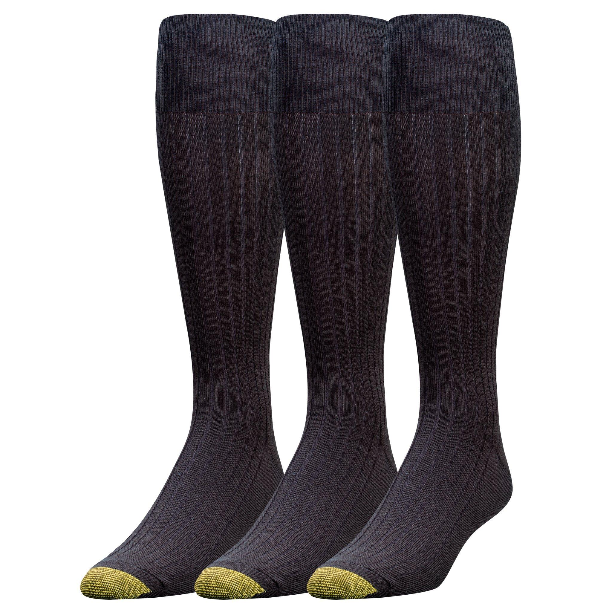 Gold Toe Men's Canterbury Over-the-Calf Dress Socks (Three-Pack),Black,10-13 (Shoe Size 6-12.5)