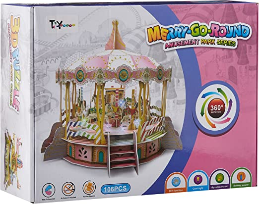 Toy House Merry Go Round Electronic 3D Puzzle, Multi Color