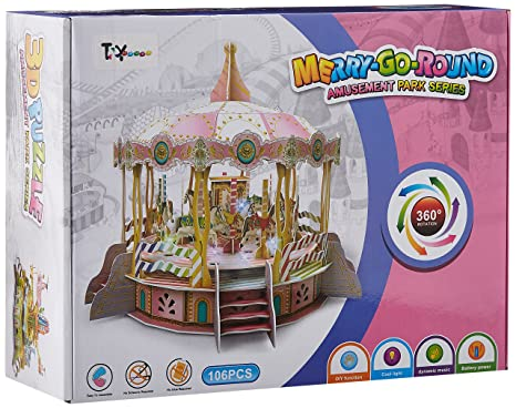 Toy House Merry Go Round Electronic 3D Puzzle, Multi Color 3-D Puzzles at amazon