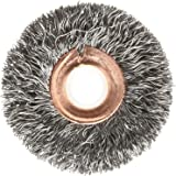 "Weiler Copper Center Wire Wheel Brush, Round Hole, Steel, Crimped Wire, 2"" Diameter, 0.0118"" Wire Diameter, 1/2-3/8"" Arbor, 1/2"" Bristle Length, 3/8"" Brush Face Width, 20000 rpm"