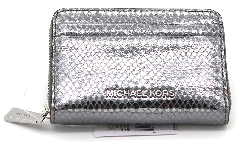 6c22b587a8f0 Michael Kors Money Pieces Zip Around Card Case Embossed Leather (Lt  Pewter): Handbags: Amazon.com