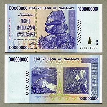 Billete 10 Billion de dólares de Zimbabwe de 2008. Récord mundial de inflación de moneda (fuera de circulación).: Amazon.es: Juguetes y juegos
