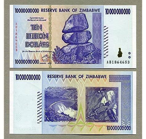 Billete de 10 trillones de dólares de Zimbabue: Amazon.es: Oficina y papelería