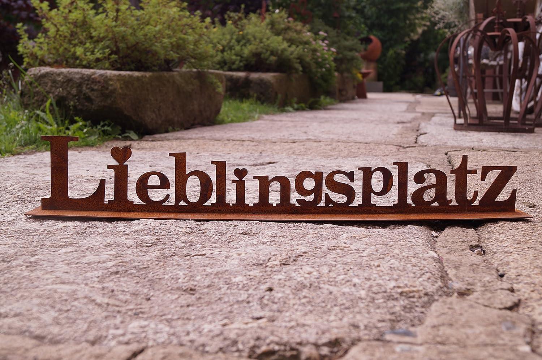 Dekostüberl Edelrost Aufsteller Lieblingsplatz mit Herz auf Bodenplatte 64 cm Schriftzug, inkl. 2 Herzen 8x6cm Unbekannt