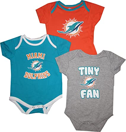 4f2f817b2 Amazon.com   Miami Dolphins 3pc Creeper Set TINY FAN Infant Baby ...