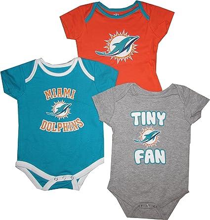 7e377c92 Miami Dolphins 3pc Creeper Set TINY FAN Infant Baby
