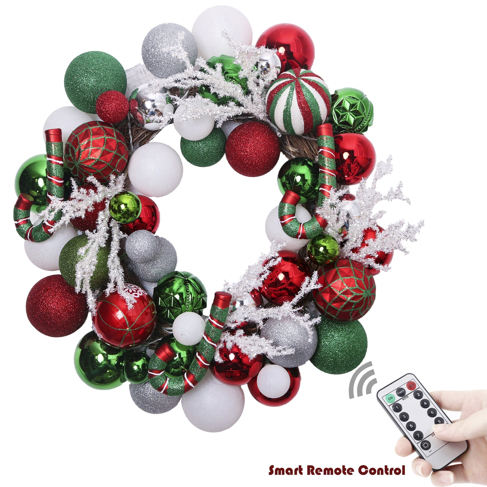 V&M VALERY MADELYN 20'' Pre-Lit Delightful Red Green Silver and White Christmas Wreath with Shatterproof Ball Ornaments, Rattan Base with 20 LED Lights, Remote and Timer Included