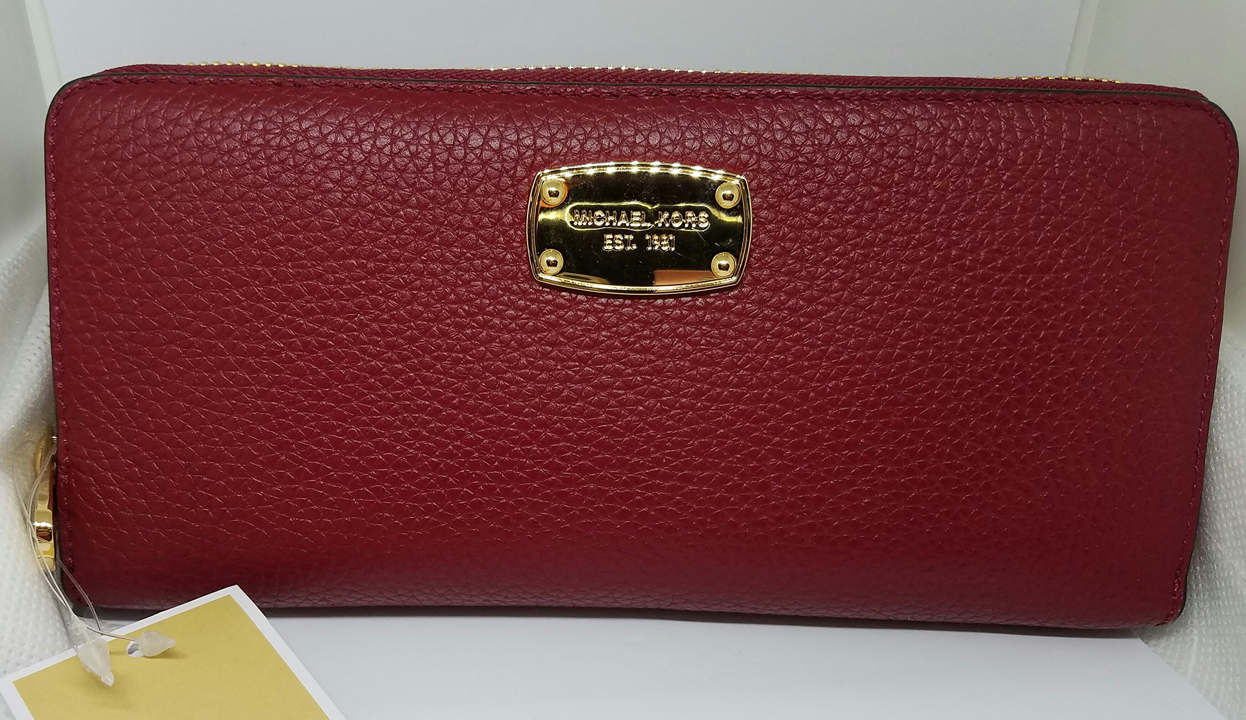 Michael Kors Jet Set Travel Zip Around Pebbled Leather Wallet, Cherry