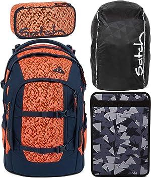 Satch Pack Supernova - Juego de 4 Mochilas Escolares, Estuche, Caja para Cuadernos y Funda para Lluvia, Color Negro: Amazon.es: Equipaje