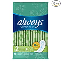 Deals on 3-Pack Always Ultra Thin Feminine Pads for Women Size 2 40 Count