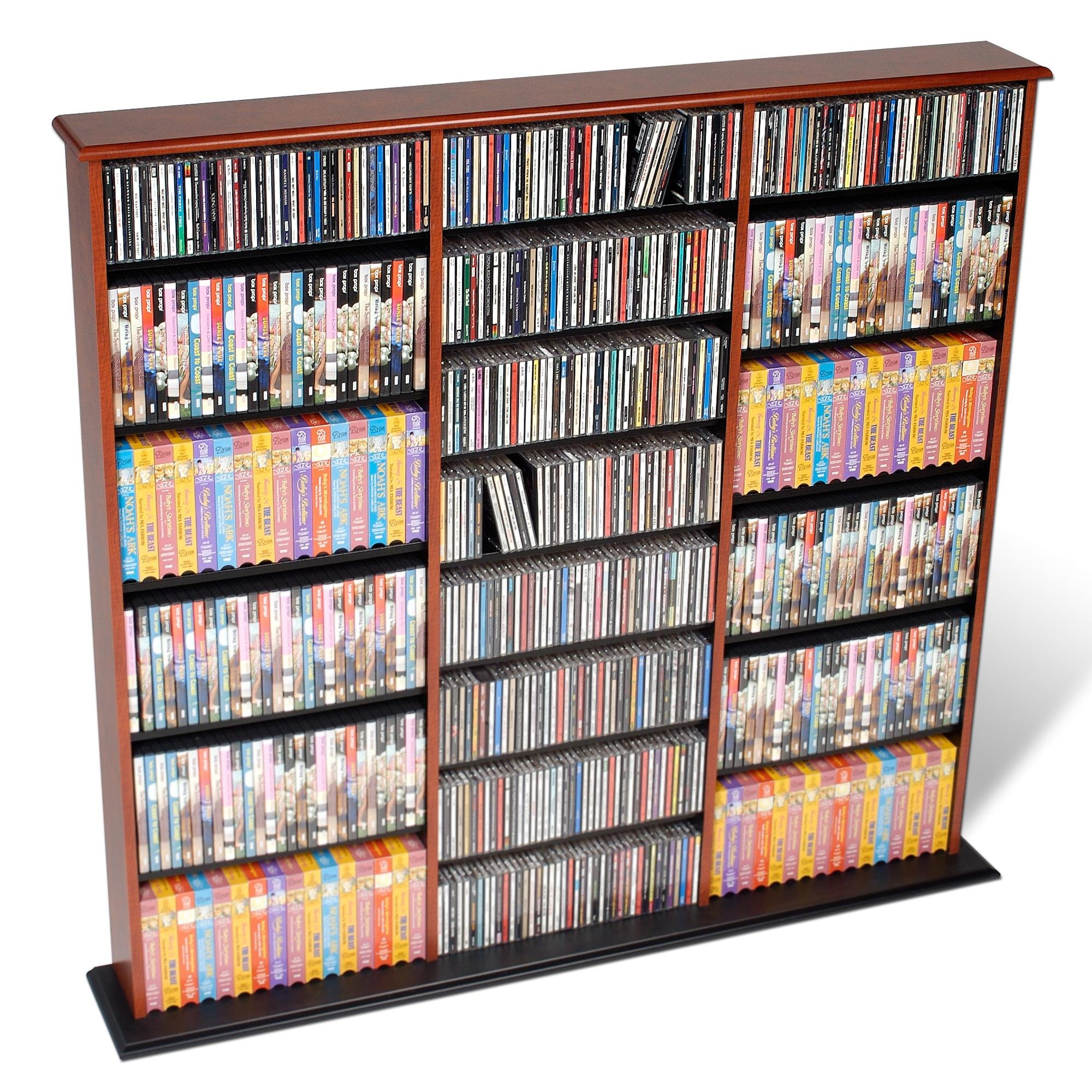 Prepac Triple Wide Wall Storage / CD Rack - Cherry & Black by Organize