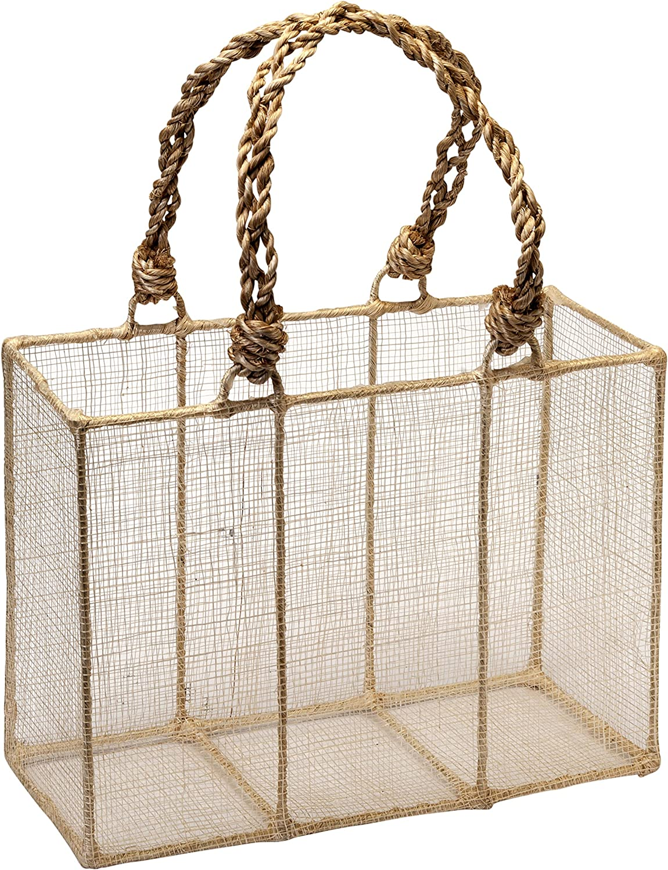 Mopec Cesta de Rafia Natural 21x7,5x15cm, Pack de 1 Unidad, 21.00x7.50x15.00 cm