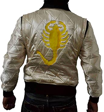 Chaqueta bomber de la película Drive en satén acolchado con un escorpión dorado en la espalda Dorado dorado 5X-Large: Amazon.es: Ropa y accesorios
