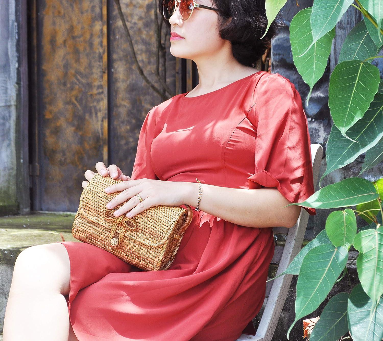 Brown Women Handwoven Wicker Rattan Oval Crossbody Bag Purse Wallet Medium