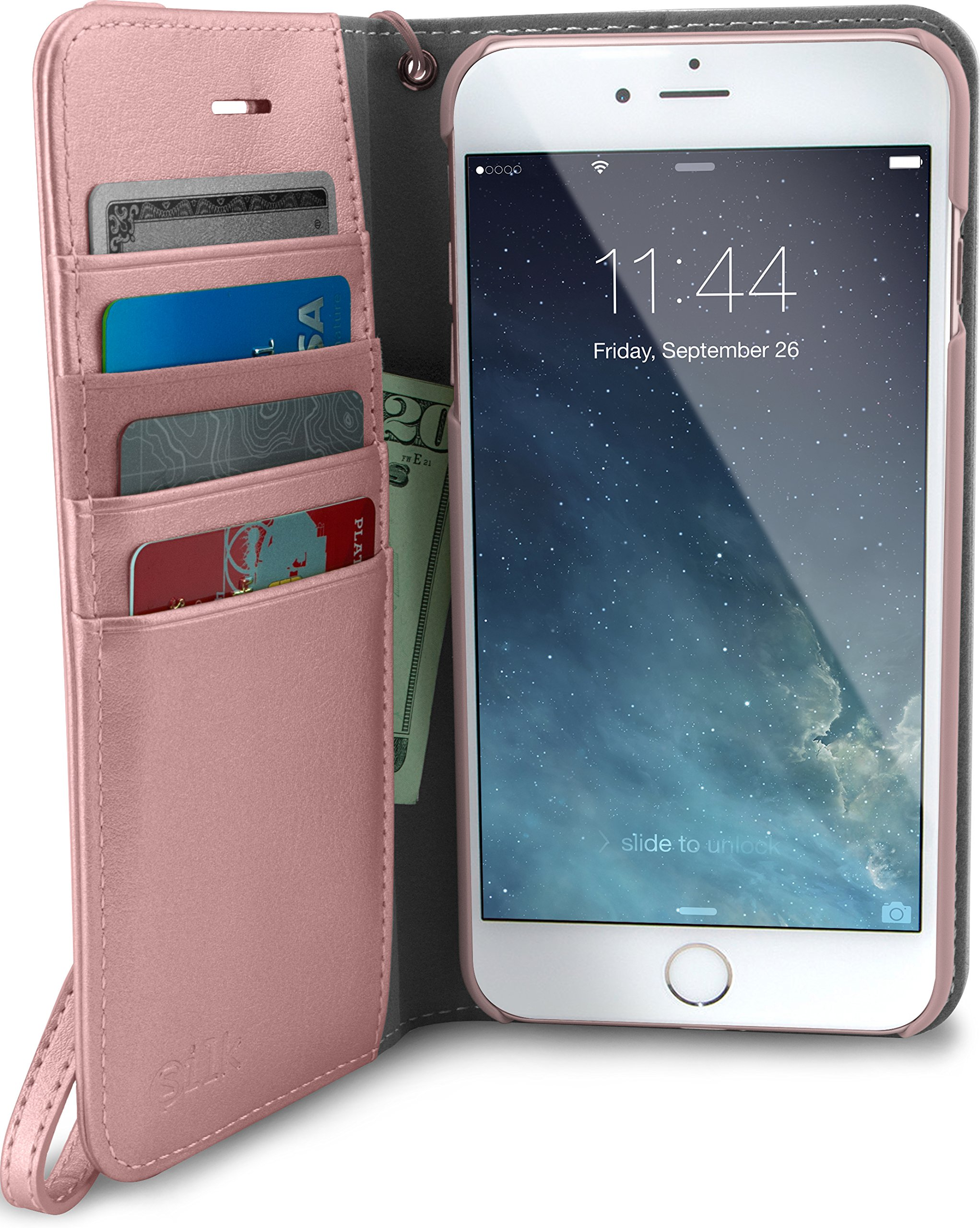 Silk iPhone 7 Plus/8 Plus Wallet Case - FOLIO WALLET Synthetic Leather Portfolio Flip Card Cover with Kickstand -Keeper of the Things - Rose Gold