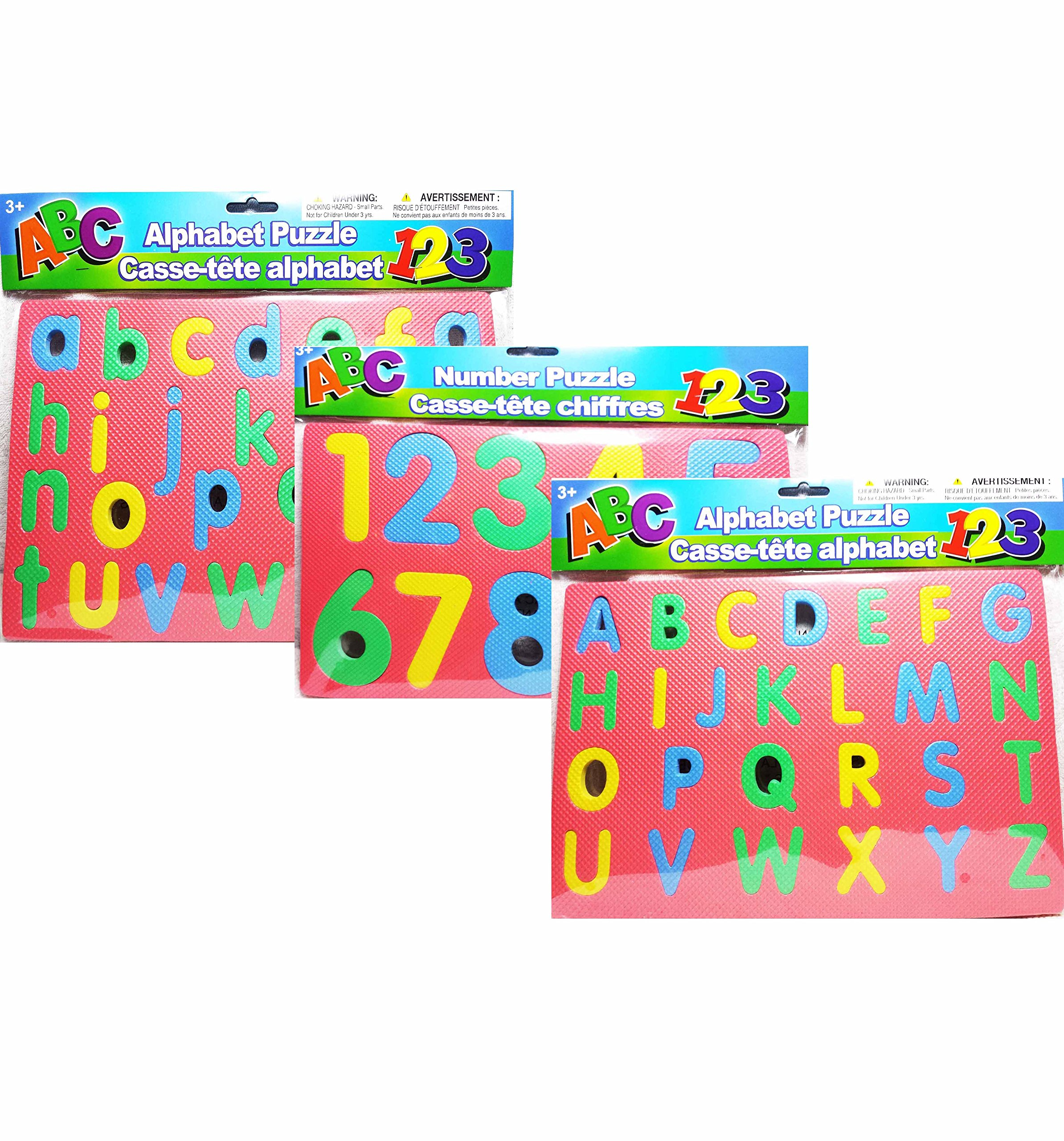 Educational Learning Puzzles ~ Includes 3 Foam Puzzles ~ Uppercase and Lowercase Letters and Numbers (Pink)