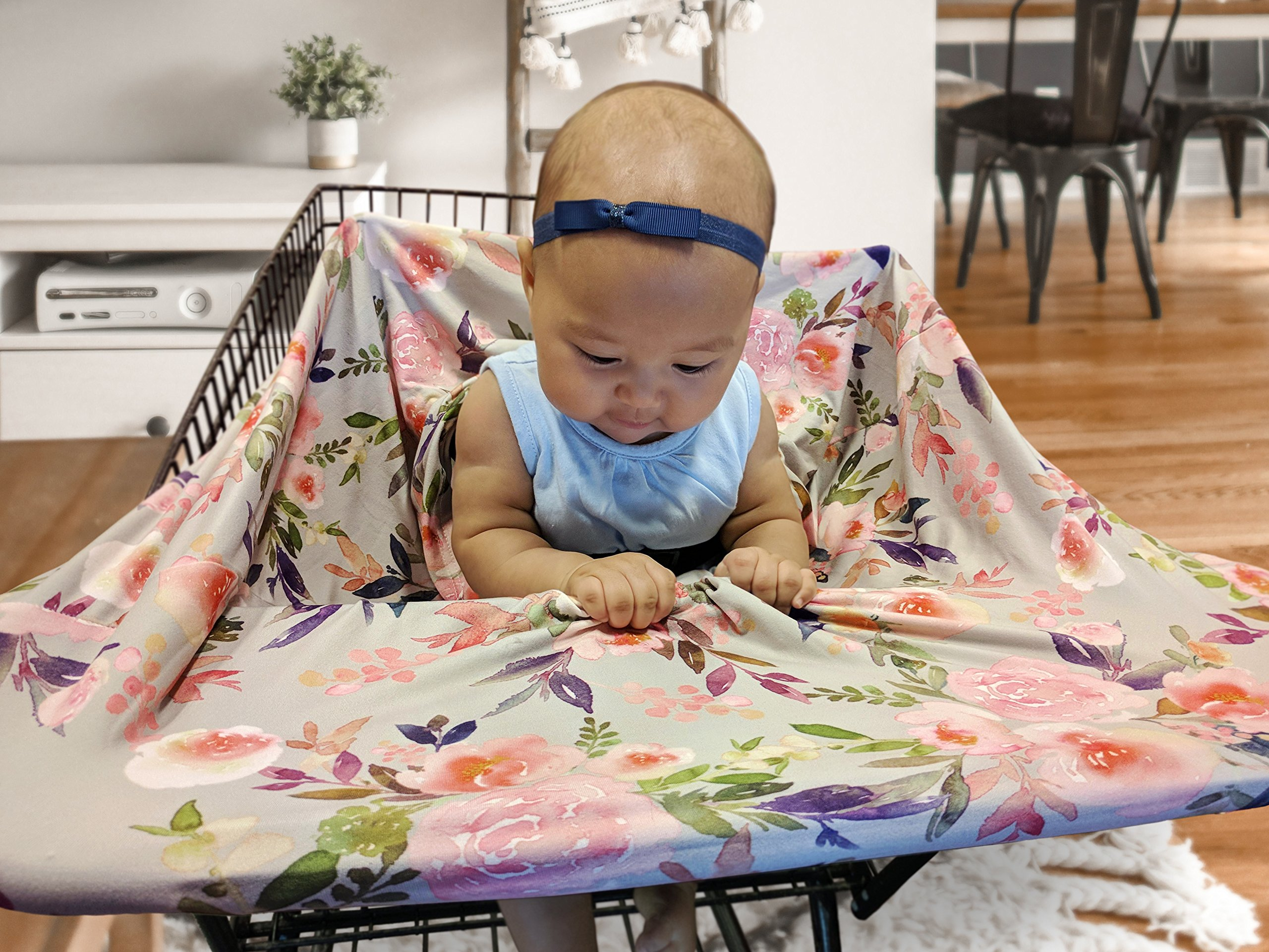 Premium Soft, Stretchy, and Spacious 4 in 1 Multi-Use Cover for Nursing, Baby Car Seat, Stroller, Scarf, and Shopping Cart - Best Gifts by Pobibaby (Grace) by Pobibaby (Image #7)