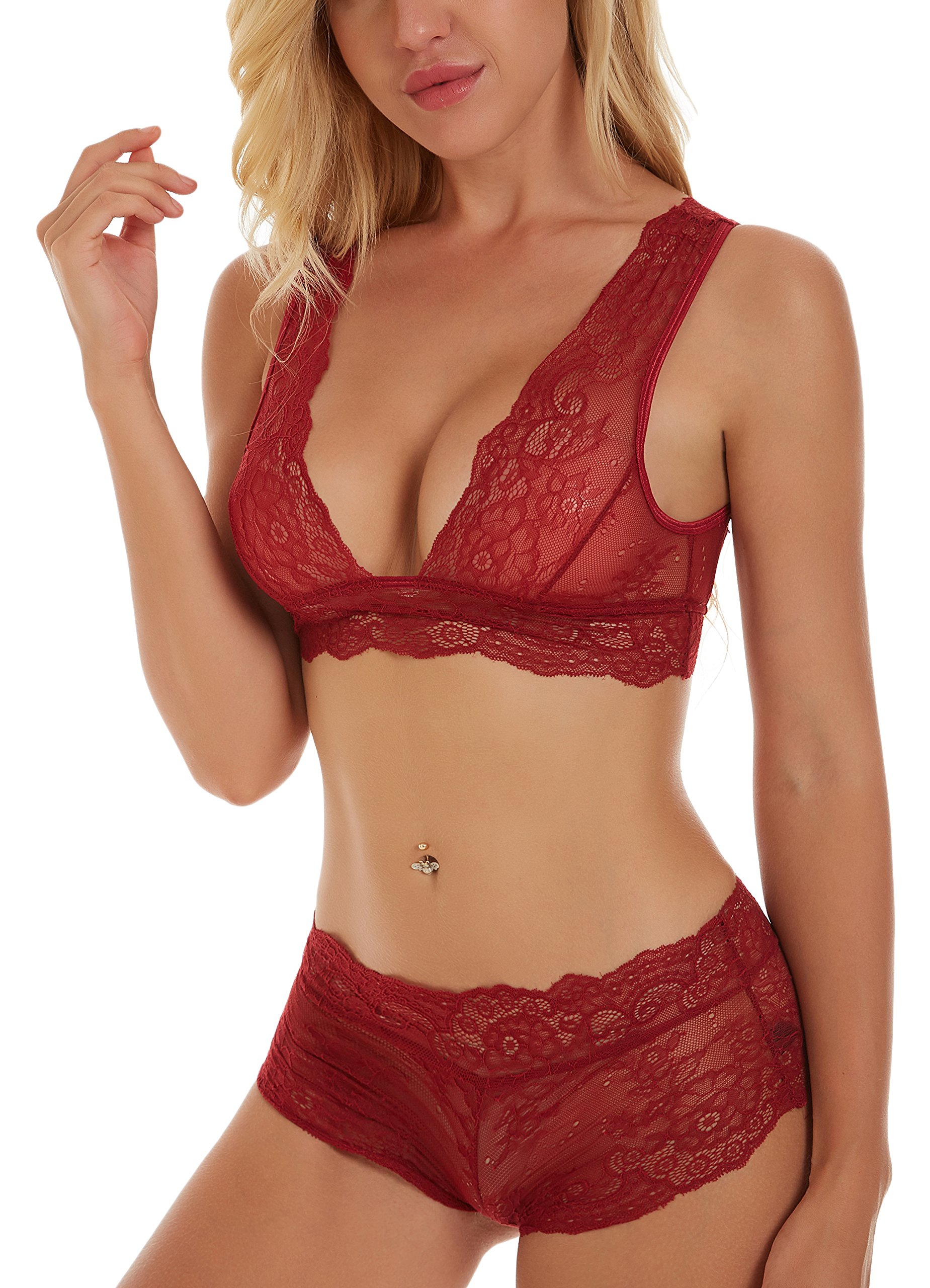 Unilove Sexy Lace Lingerie for Women Nightwear Babydoll Sexy Camisole Lingerie Set (Red,S)